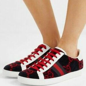 Gucci Ace Velvet GG  Blue Red Sneakers 7.5